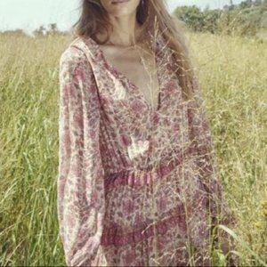 NWT Anthropologie Boho Pink Tippy Border Dress